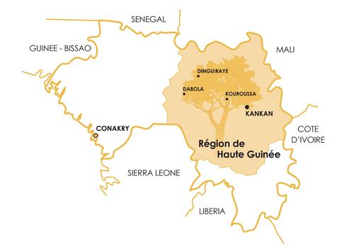 Situation géographique : carte de la Guinée